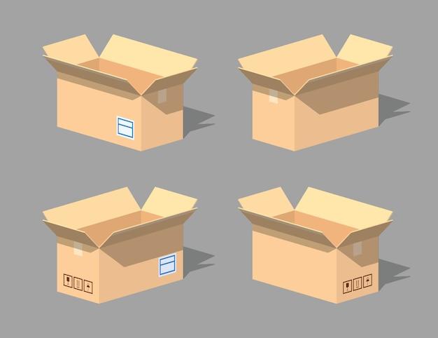 Open empty cardboard box. 3d lowpoly isometric vector illustration.
