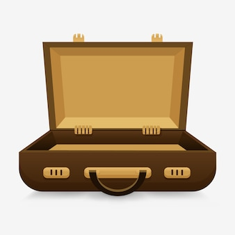 Open empty case. the concept of an still empty suitcase,