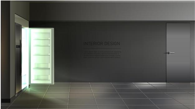 방에 선반이있는 빈 냉장고 측면 방법 열기