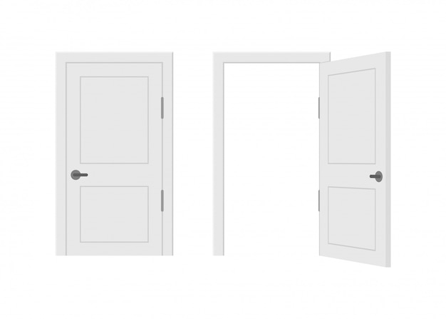 Open end closed door. interior . business concept. front view. home office concept. business success.