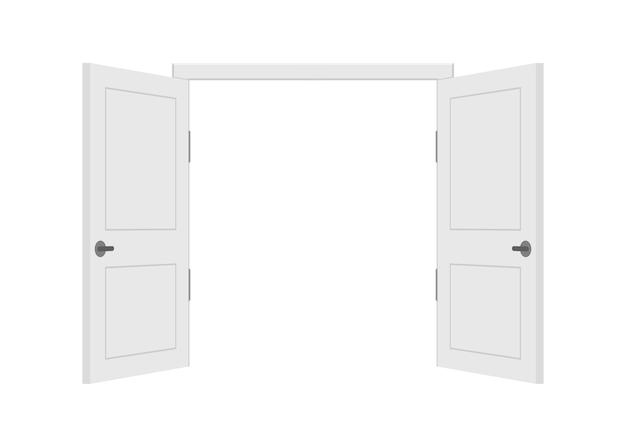 열린 끝 닫힌 문. 인테리어. 비즈니스 개념. 전면보기. 홈 오피스 개념. 비즈니스 성공.