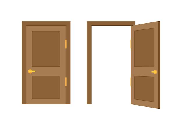 열린 끝 닫힌 문. 인테리어 디자인. 비즈니스 개념입니다. 전면보기. 홈 오피스 개념입니다. 비즈니스 성공입니다. 벡터 일러스트 레이 션