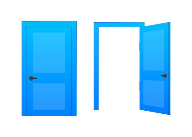 열린 끝 닫힌 문. 인테리어 디자인. 비즈니스 개념. 전면보기. 홈 오피스 개념. 비즈니스 성공.