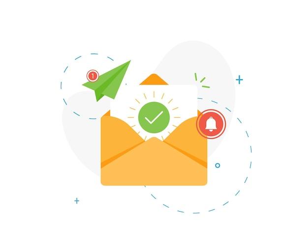 전자 메일 마케팅을 위한 문서 및 둥근 녹색 확인 표시가 있는 봉투 열기