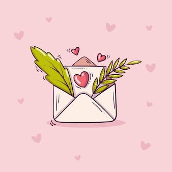 Open envelope with love letter and green leaves in doodle style on pink background with hearts