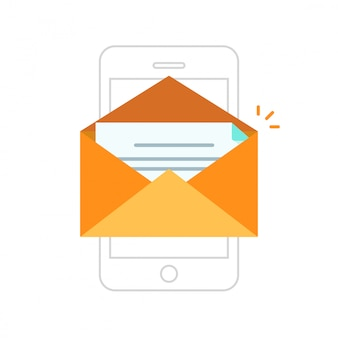 Open envelope with new message on smartphone or cellphone vector line outline