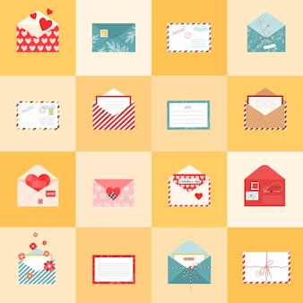 Открытые конверты иконки и открытки для разных праздников в плоском стиле