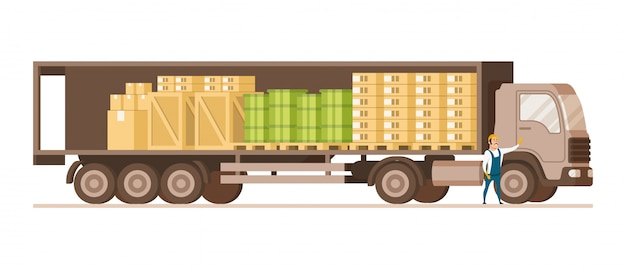 Open fast delivery load truck full of cargo goods