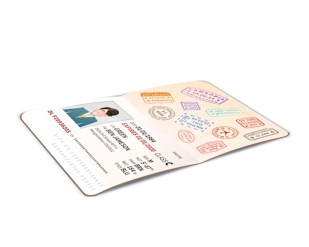 Open foreign passport full of immigration stamps, travel document with man photo in perspective on white