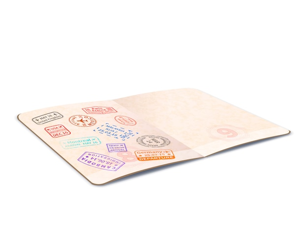 Open foreign passport with colorful immigration stamps, travel document with in perspective on white