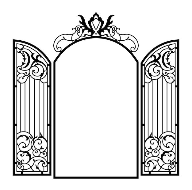 Открытые кованые богато украшенные ворота. винтажный стиль. векторная иллюстрация.