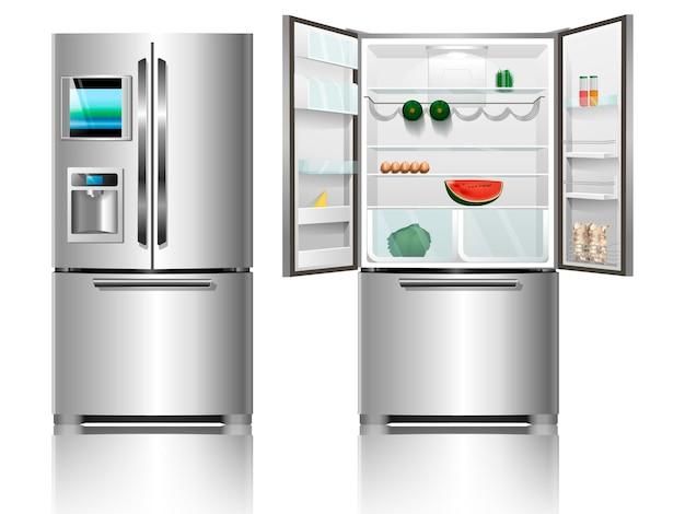 냉장고를 엽니다. 닫힌 냉장고. 크롬 냉장고. 음식이 있는 냉장고. 현대 냉장고.