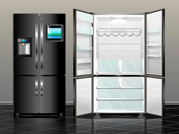 냉장고를 엽니다. 닫힌 냉장고. 벡터 일러스트 레이 션 인테리어의 검은 현대 냉장고.