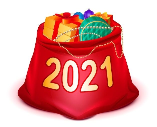 2021 크리스마스와 새해 선물로 산타 클로스의 전체 빨간색 가방을 엽니 다. 흰색 만화 그림에 절연