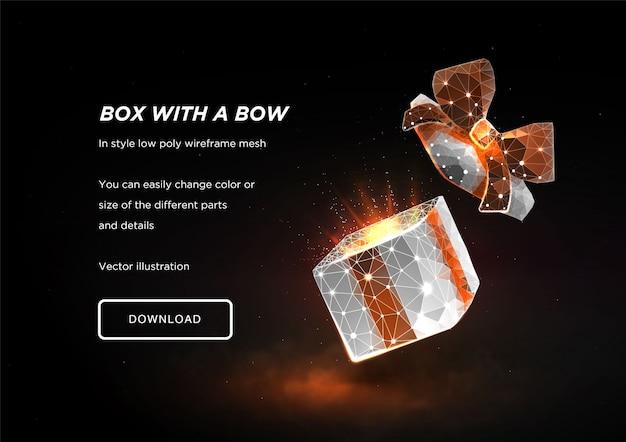 Открытая подарочная коробка. низкая поли каркасное искусство на темном фоне. концепция для отдыха или магия или чудо. коробка в тумане. полигональные иллюстрации с подключенных точек и многоугольников. 3d каркасная сетка