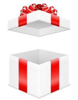 Открытая подарочная коробка с бантом и лентой на белом