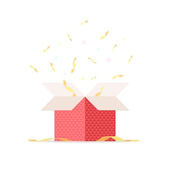 Open gift box with confetti