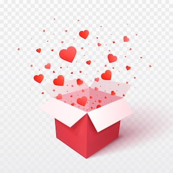 Open gift box with heart shape confetti burst explosion. 3d  valentines day . romantic gift
