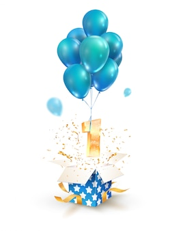 Open gift box with number one flying on balloons