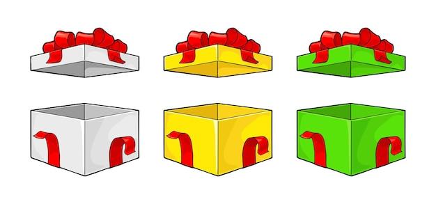 메리 크리스마스와 새해 복 많이 받으세요 리본 활 레이와 함께 오픈 선물 상자