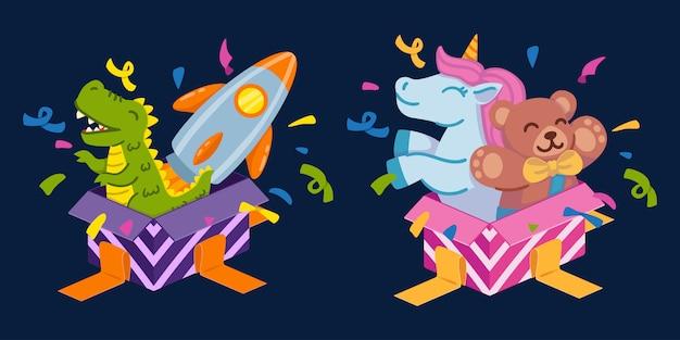공룡과 우주 로켓을 가진 소년과 유니콘과 테디 베어가있는 소녀를위한 선물 상자를 엽니 다. 생일 축하 인사말 카드 및 파티 초대장에 대한 요소 집합입니다.
