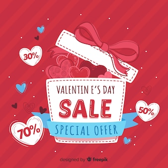Open gift valentine sale background