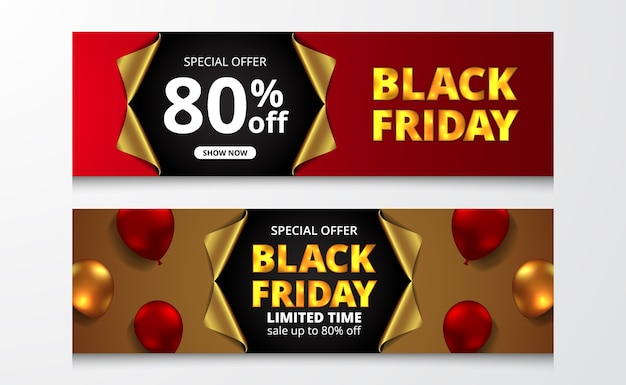 Open golden wrap paper at banner poster black friday sale offer discount with 3d balloon illustration. big emphasis shock effect
