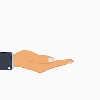 手を開いてください。空の人間の手のひら。ベクトルイラスト。