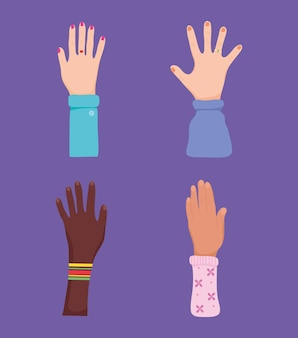 Открытые руки значок набор дизайн
