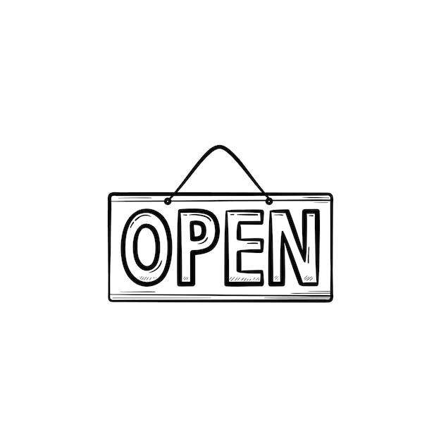 열린 교수형 보드 손으로 그린 개요 낙서 아이콘입니다. 비즈니스 간판, 상점, 마케팅 메시지 개념입니다. 인쇄, 웹, 모바일 및 흰색 배경에 인포 그래픽에 대한 벡터 스케치 그림.