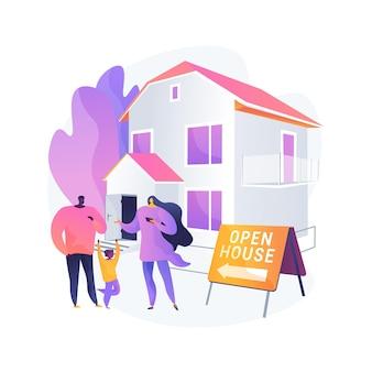 オープンハウス抽象的な概念ベクトルイラスト。検査物件、売り家、不動産サービス、潜在的な買い手、ウォークスルー、ハウスステージング、間取り図の抽象的なメタファーのために開いています。
