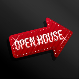 Open house arrow label with  sparkles