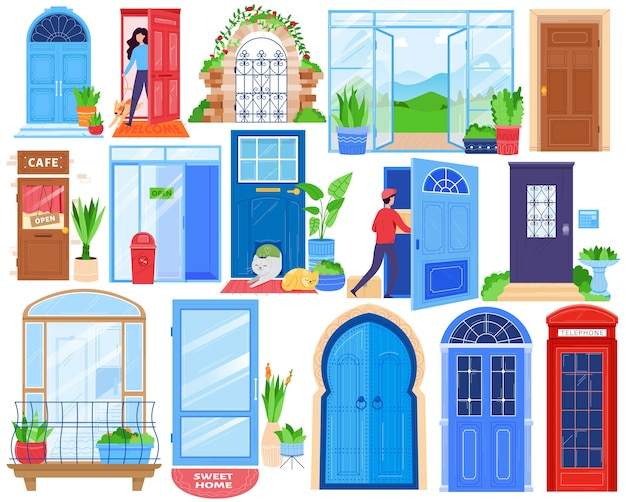 Open house doors, front architecture vector illustration set. cartoon flat indoor outdoor architectural view doorway entrance gate