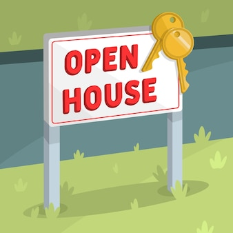 Open house indicator with keys