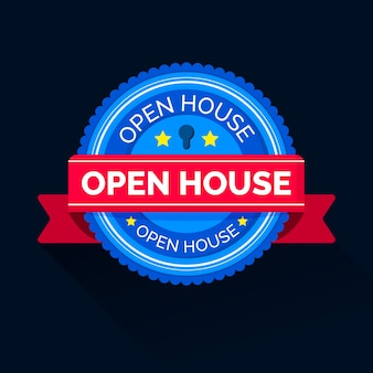 Open house label with banner