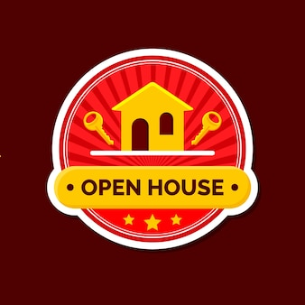 Open house label with keys