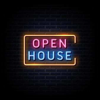 오픈 하우스 네온 사인 스타일 텍스트