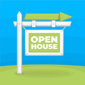 Open house for sale with arrow outdoors