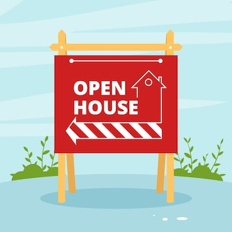 Open house sign background concept