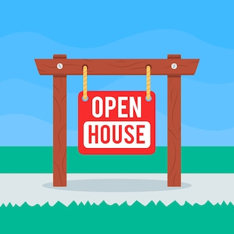 Open house sign illustration