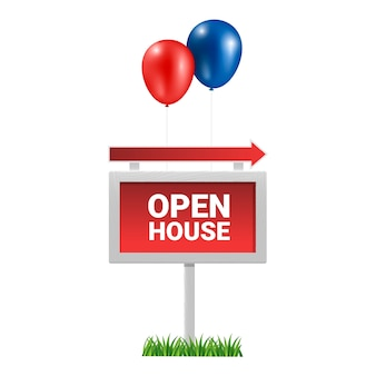 Open house sign with balloons