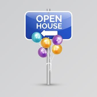Знак открытых дверей с воздушными шарами