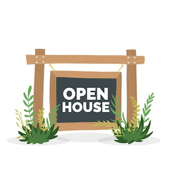 Open house sign with grass