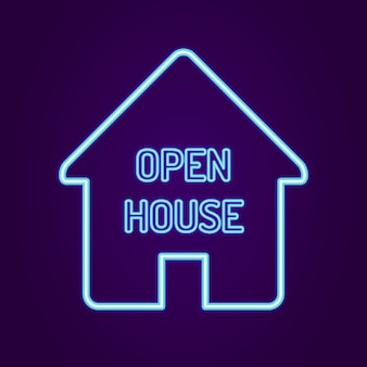 Open house sign with neon