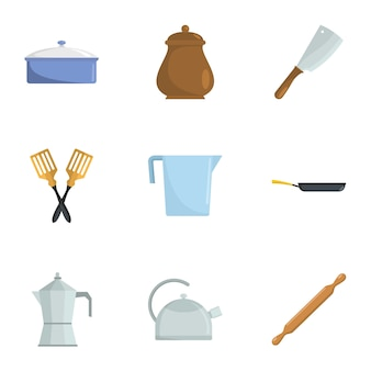 Open kitchen icons set, cartoon style