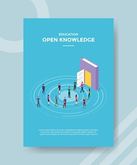 Open knowledge concept for template banner and flyer with isometric style vector