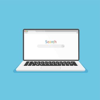 ノートパソコンとインターネットブラウザを画面上で開くwebウィンドウの空白のテンプレートをフラットスタイルで前面から見る