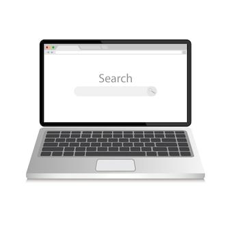 Откройте окно ноутбука и интернет-браузера на экране.