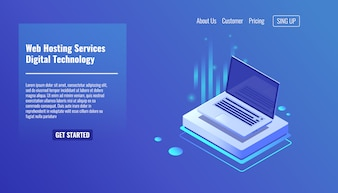 Open laptop, concept of web hosting services, computer technologies