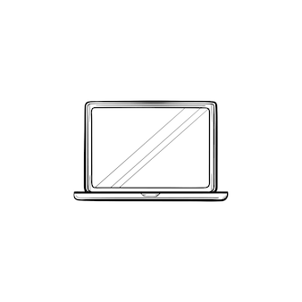 Open laptop hand drawn outline doodle icon. notebook and computer, electronic device, office equipment concept